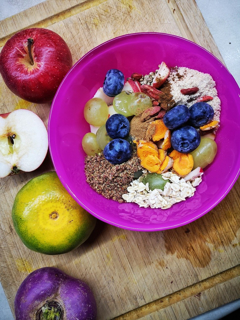 fruit, cereals, oats